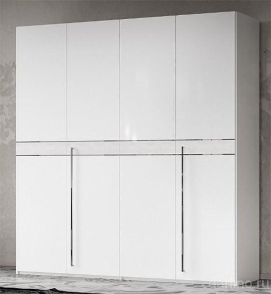 шкаф 4 х дверный отделка кож зам Croco Volare White купить за 144 628 руб в москве салон Darlino